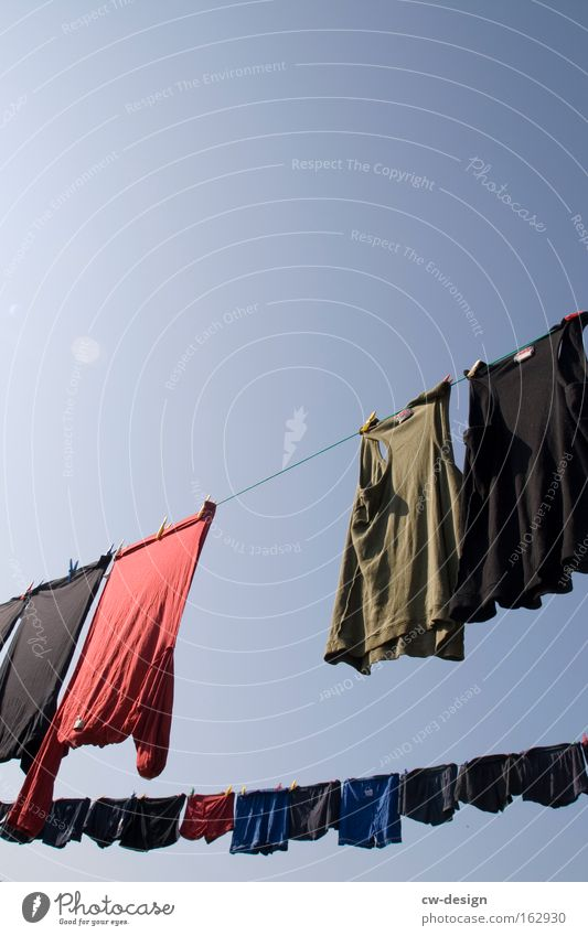 Sky Summer Clothing Bathroom T-shirt Dress Underwear Shorts Laundry Underpants Clothesline Men's underpants Washing day