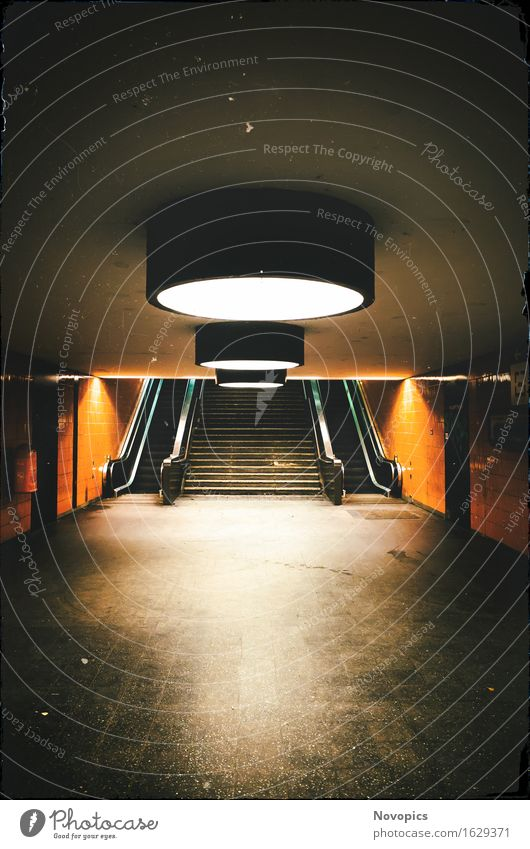 Dark Architecture Lighting Berlin Orange Stairs Mirror Passenger traffic Train station Illumination Commuter trains Escalator Rail transport Underpass