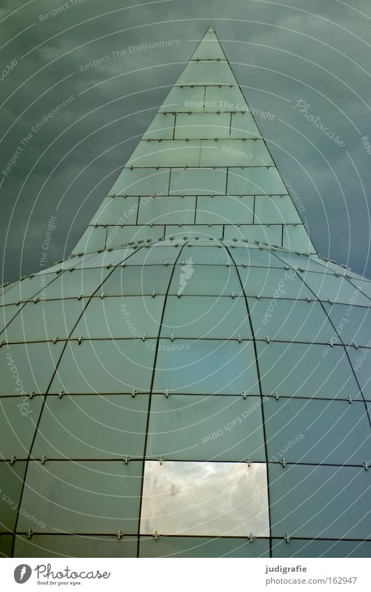 heaven and hell Sky Clouds Building Architecture Window Glass Modern Round Point Reflection World exposition Expo 2000 Hannover Grid Colour