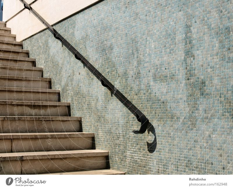 Wall (building) Architecture Gray Wall (barrier) Stairs Handrail Tunnel Upward Portugal Lisbon Mosaic