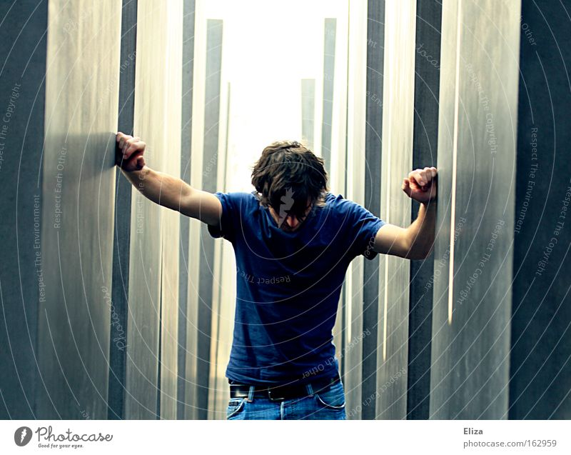 Human being Man Berlin Grief To hold on Monument Distress Landmark Murder Insecure Stagger Mass murder Holocaust memorial