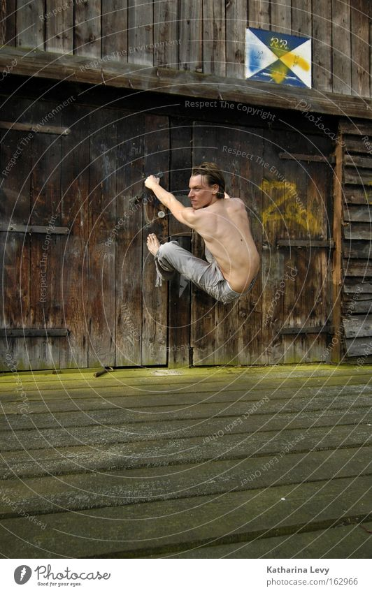 Man Wood Lake Door Power Concentrate Fitness Footbridge Musculature Barn Human being