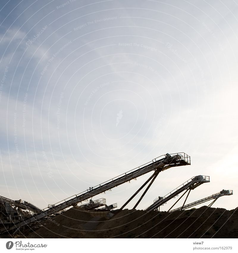 Movement Sand Transport 3 Industry Industrial Photography Construction site Protection Store premises Gravel Earth hole Excavator Load Heap Cargo Conveyor belt