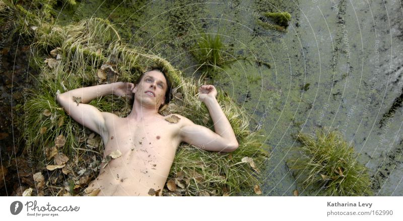 Man Water Naked Nude photography Grass Grief Chest Transience Distress Bog Marsh Upper body Human being