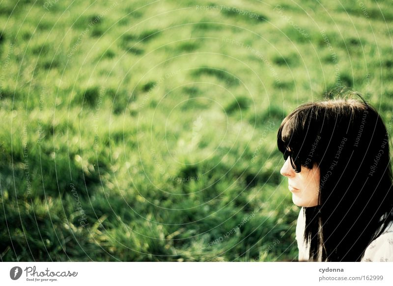 Woman Human being Nature Beautiful Green Far-off places Meadow Grass Spring Freedom Time Desire Longing Sunglasses Optimism Eyeglasses