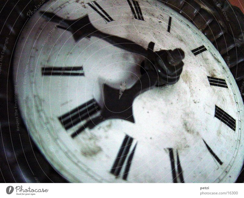 Old White Black Clock Analog Ancient Section of image Point in time Antique Watch mechanism Clock hand Clock face Time travel Roman numerals