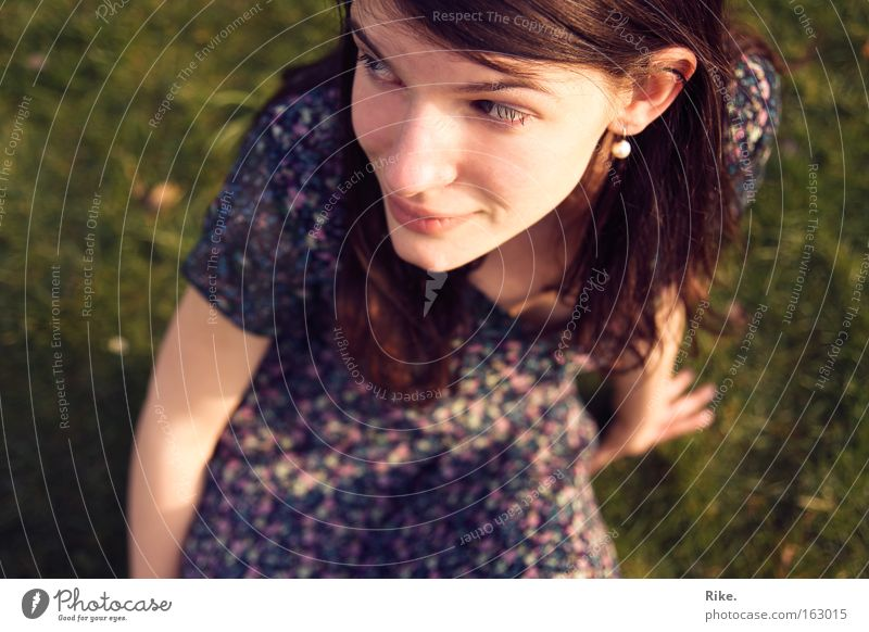 Love in thought. Colour photo Exterior shot Day Portrait photograph Upper body Looking away Joy Happy Face Harmonious Summer Human being Feminine Young woman
