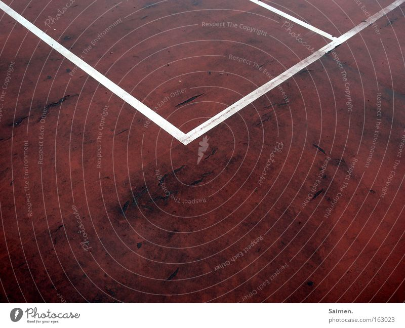 Envelope vs. tennis court Structures and shapes Playing Sports Ball sports Line Old Red White Safety Envelope (Mail) Tennis court Corner Crack & Rip & Tear