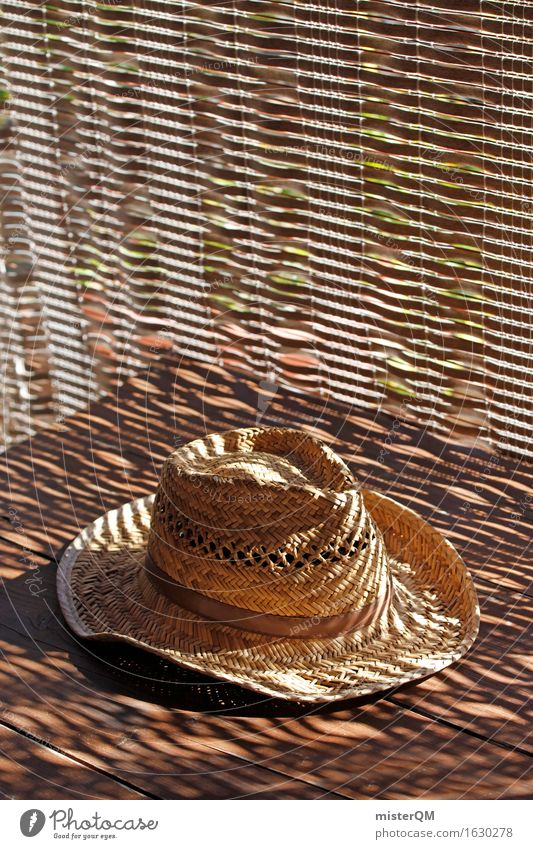 hat on the table Art Work of art Esthetic Hat Hat rack Relaxation Vacation mood Vacation & Travel Vacation photo Vacation good wishes Calm Straw hat