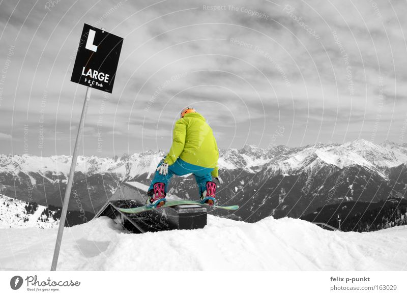 don't break Black & white photo Multicoloured Exterior shot Copy Space right Day Contrast Long shot Rear view Winter Snow Snowboard Box Sports Jump Athletic