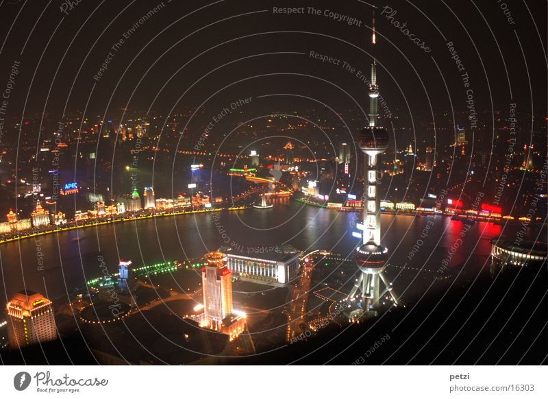 Shanghai by Night Oriental Pearl Tower China Success Light Colour Shanhai the Confederation River 88 Floor