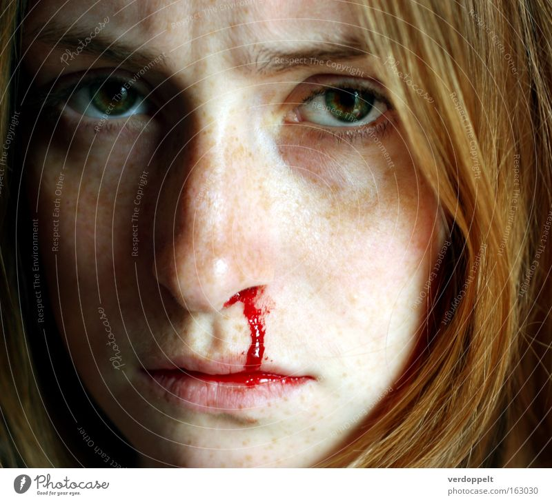 >:-''/ Portrait photograph Woman Blood Nose Freckles Emotions Eyes Face Red Pressure Human being Healthy Nose bleed frown glance
