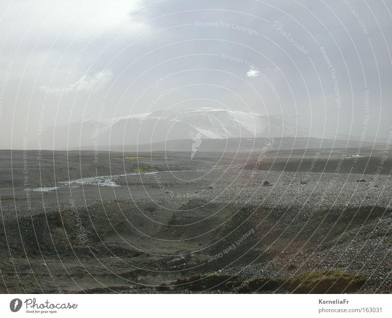 sandstorm Iceland Sandstorm Gray Fog Glacier Desert lava desert desert river Sprengizandur Hofsjökull