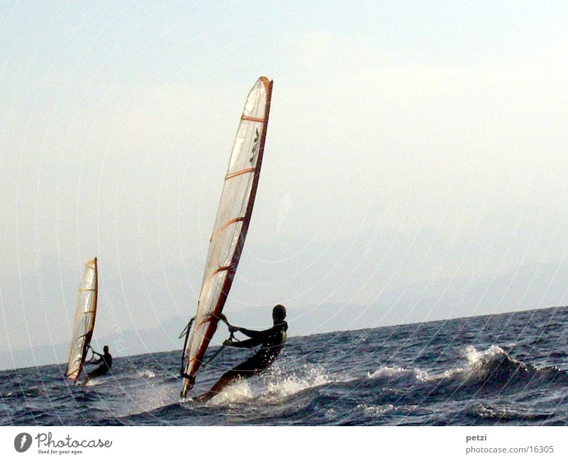 Two surfers Ocean Waves Surfer 2 Passion Agitated White crest Surfboard Sports Wind Sail Electricity pylon