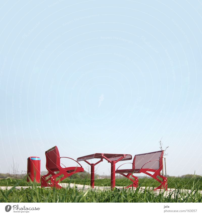 red pause Break Resting place Highway Federal highway Seating Table Bench Trash container Spring Meadow Brunch Red Sky Motoring Vacation & Travel