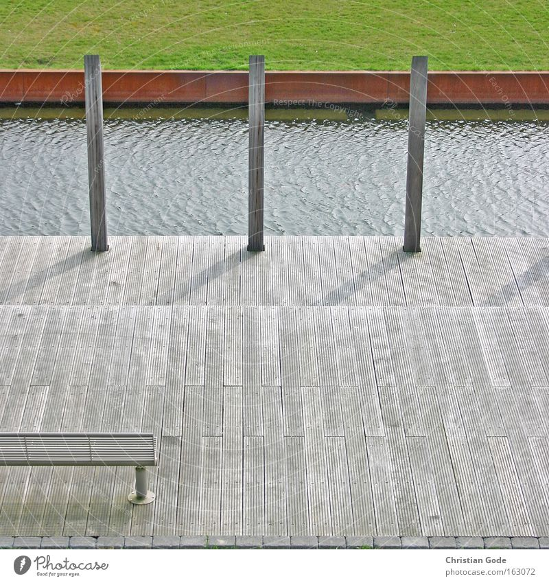 Water Green Red Meadow Wood Architecture Germany Lawn Bench Grass surface Terrace Brook Bochum Joist Bollard Industrial heritage