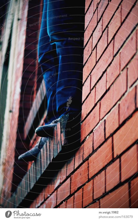 Human being Man Blue Red Loneliness Jump Death Window Sadness Feet Legs Moody Fear Wait Adults Masculine