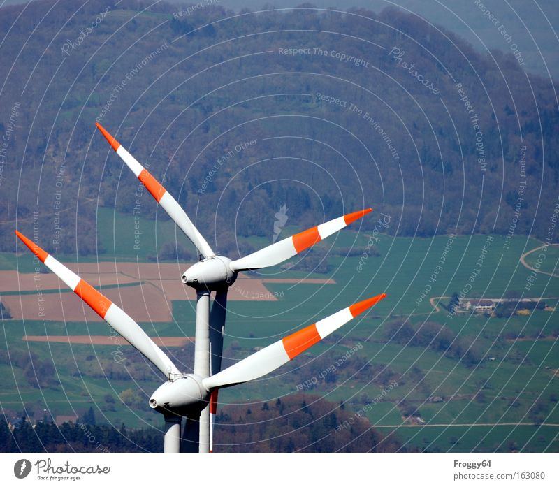 twin Wind Wind energy plant Rotor Mountain Forest Clouds Technology Energy Alternative Weather Wind direction Industry