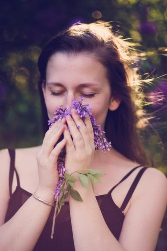 Human being Woman Nature Youth (Young adults) Plant Beautiful Summer Young woman Relaxation Calm 18 - 30 years Adults Environment Blossom Spring Feminine