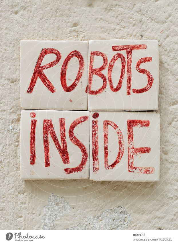 robots inside House (Residential Structure) Wall (barrier) Wall (building) Facade Moody Robot Tile Lisbon Travel photography White Red Funny Colour photo