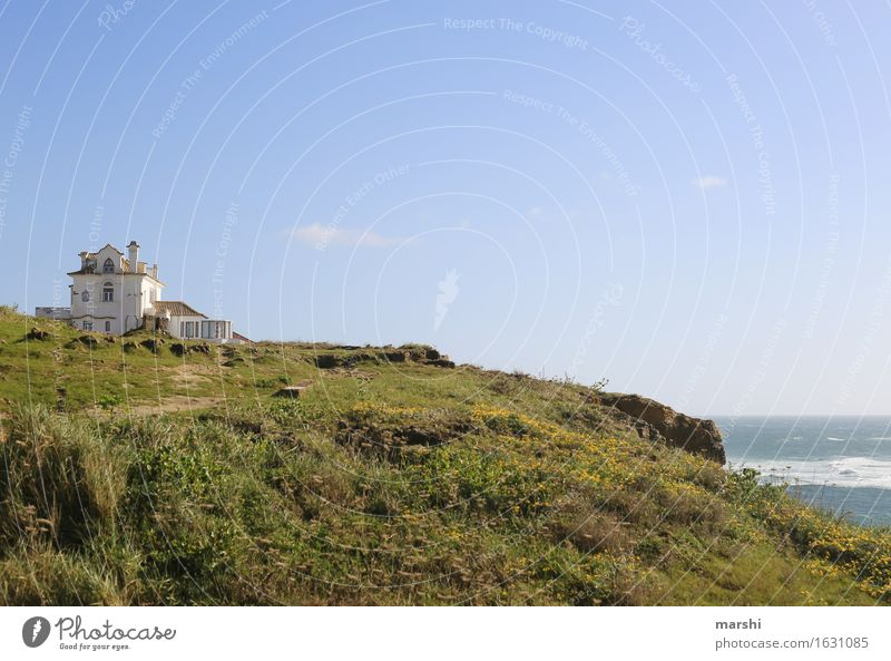 Secluded Nature Landscape Garden Meadow Rock Coast Beach Ocean Village House (Residential Structure) Moody Portugal Travel photography Remote Sintra Farmhouse