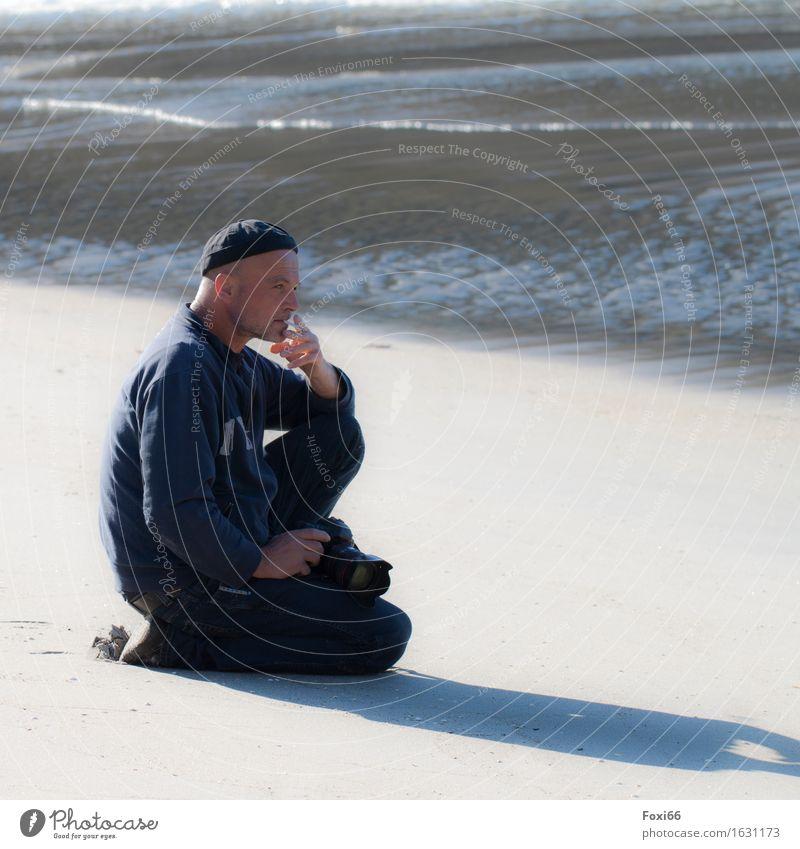 Human being Man Blue Summer Water White Beach Far-off places Black Adults Coast Freedom Sand Masculine Dream Air