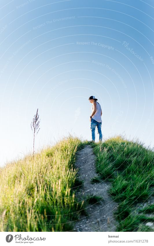 On a hill (II) Lifestyle Style Well-being Contentment Calm Meditation Freedom Human being Feminine Young woman Youth (Young adults) 1 18 - 30 years Adults