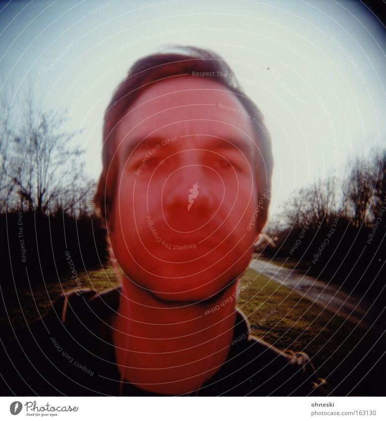 A man sees red Man Red Portrait photograph Skeptical Doubt Holga Analog Blur Anger Aggravation Lomography ohneski
