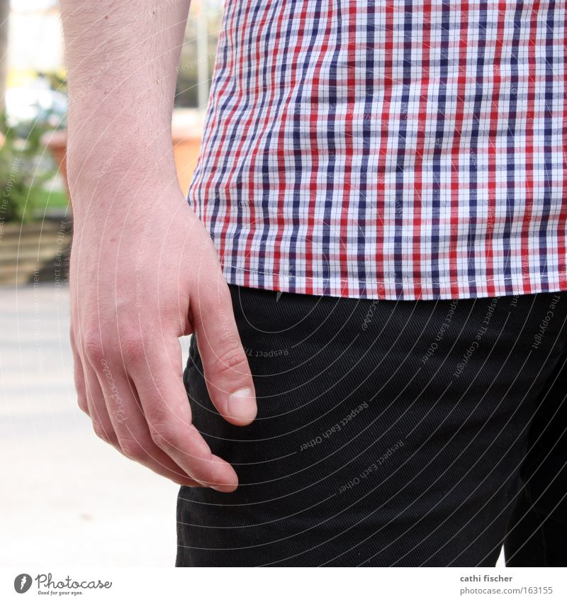 square hand Hand Shirt Checkered Red Blue White Black Man Pants Fingers Fingernail Close-up Hip Clothing Stand