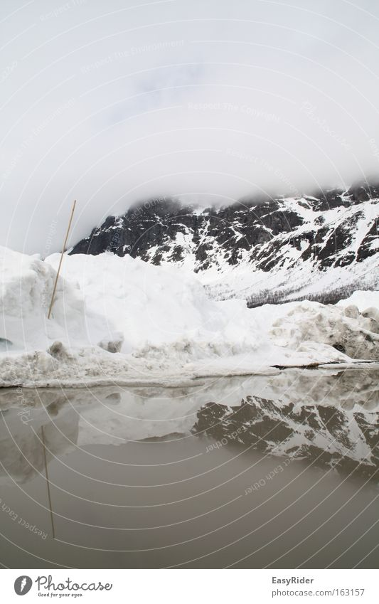reflexes Snow Water Reflection Clouds Sky Puddle Mountain