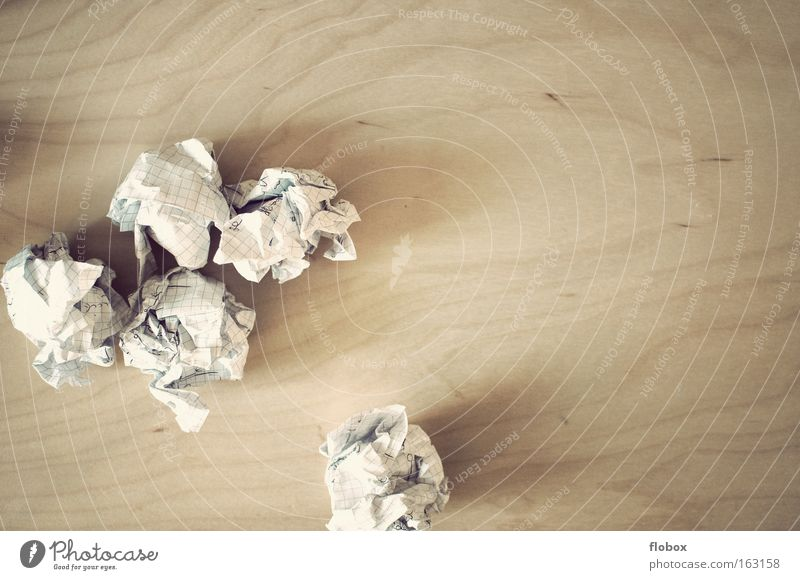 Goodbye learning Paper Wastepaper Brainstorming Study Idea Paper jam Creativity Wrinkles Knot Stack of paper Write Success ball of paper writer's block