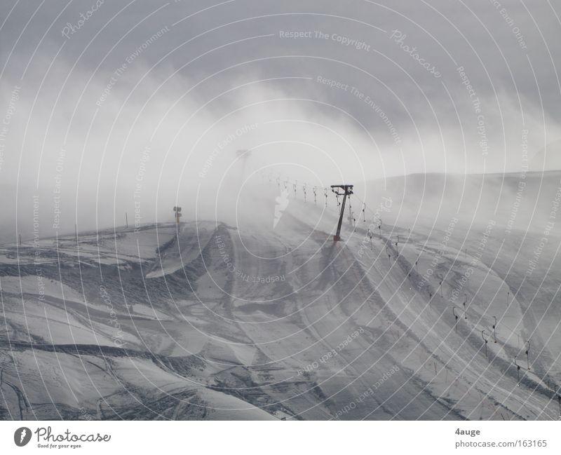 Tug to Nirvana Pull Ski lift Snow Dolomites South Tyrol Winter Ski run Mountain plate lift Ski resort Ski tow Empty Exterior shot Clouds Slope Deserted