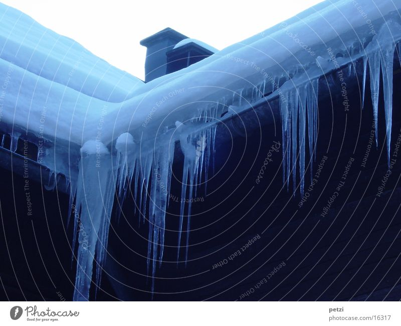 icicle season House (Residential Structure) Roof Rain gutter Icicle Cold Snow Ice Blue Chimney