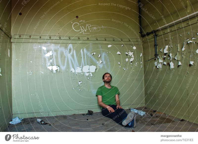 Man Old Green Loneliness Graffiti Building Room Derelict Facial hair Iron-pipe Self portrait
