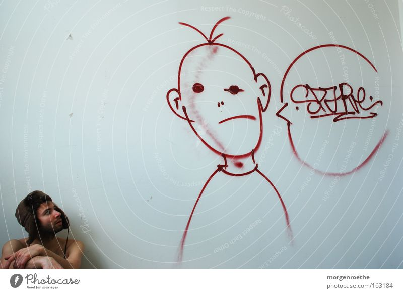 Man White Red Graffiti To talk Derelict Headwear Fictitious Human being Street art