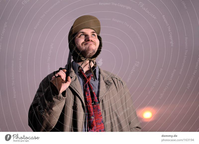 falling in love Man Weapon Hunter Sunset Dream Dreamily Trench coat Cap Shotgun Tie red Remainder