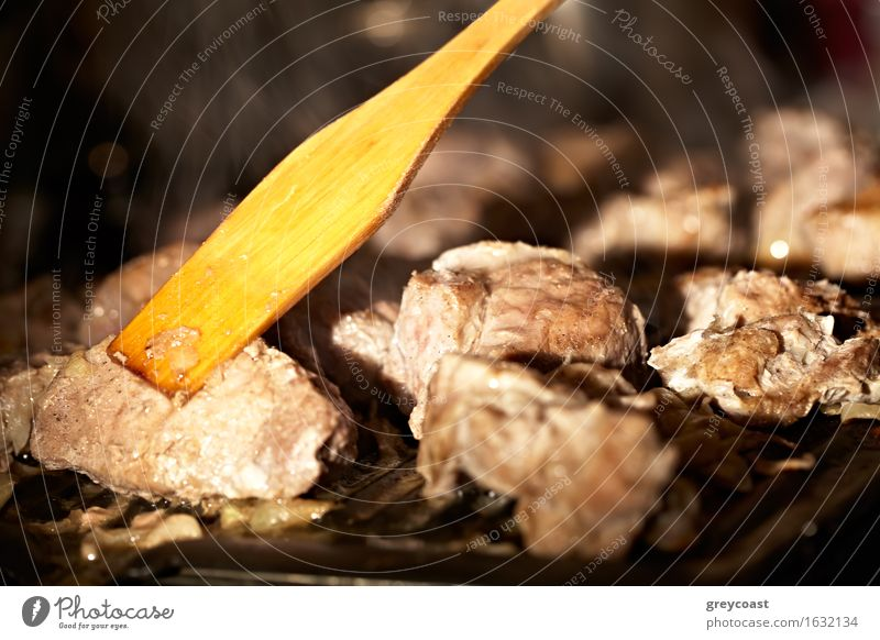 Nice pieces of meat are fried on the barbecue. Shallow dof. Meat Eating Dinner Flat (apartment) Kitchen Restaurant Warmth Stove & Oven Hot Delicious