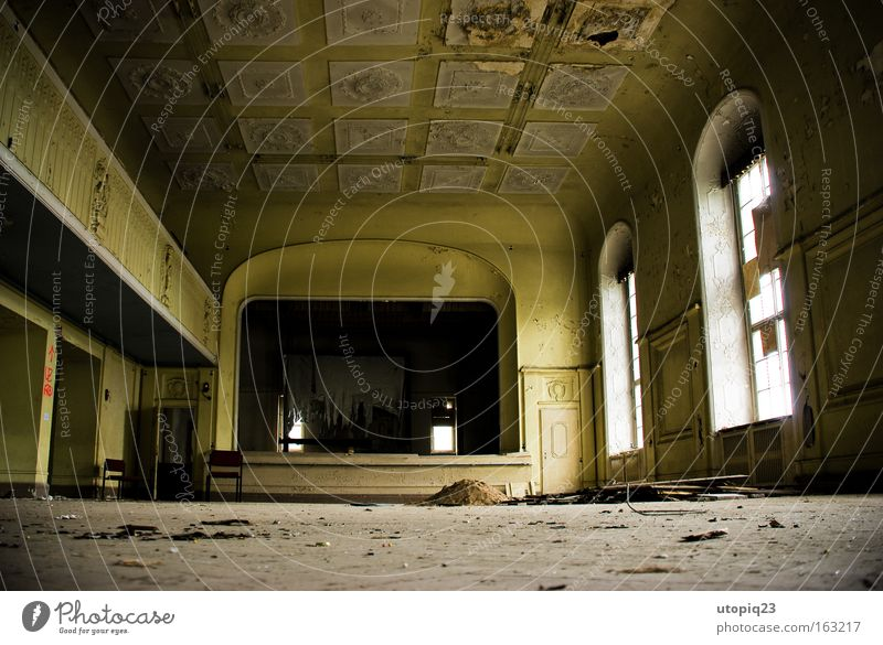 Old Yellow Architecture Room Art Feasts & Celebrations Gold Dance event Empty Broken Culture Derelict Hall Balcony Past Decline