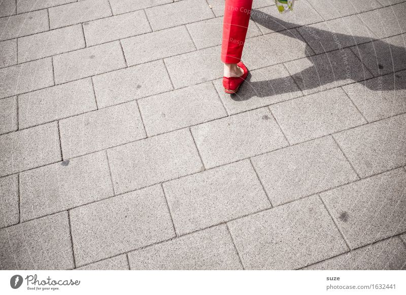 Woman City Red Legs Fashion Going Footwear Speed Shopping Footpath Target Pants Lady In transit