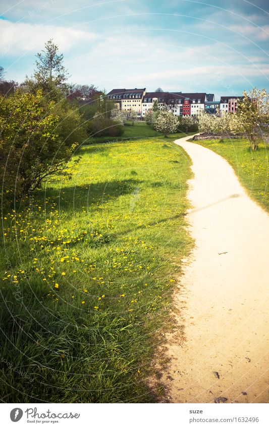 HOME WAY House (Residential Structure) Environment Spring Bushes Outskirts Town Growth Change Lanes & trails Target Meadow Chemnitz Saxony Footpath Idyll