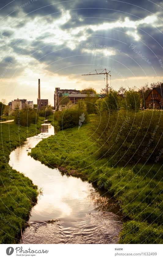 The Finished One Factory Industry Environment Nature Landscape Water Sky Clouds Storm clouds Climate Climate change Weather Meadow River bank Brook Town