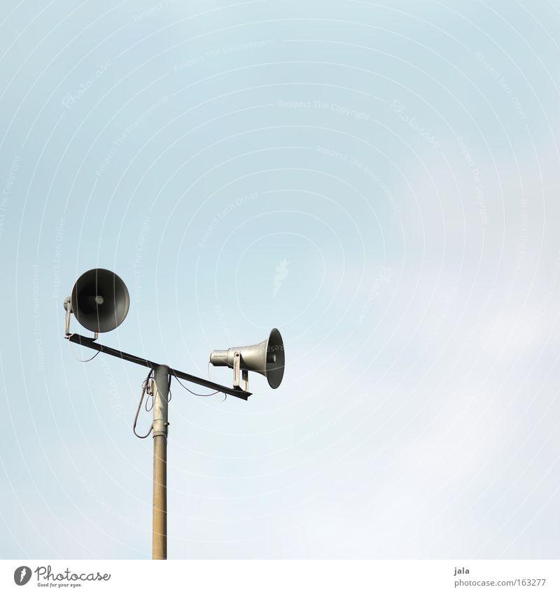 Sky Clouds Music Telecommunications Loudspeaker Traffic infrastructure Loud Megaphone Sound engineering Light blue Speaking tube