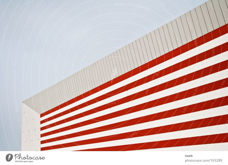 Colgate Stripe Joist House (Residential Structure) Red White Window Structures and shapes Background picture Line Hypnotic Shadow Geometry Corner Abstract