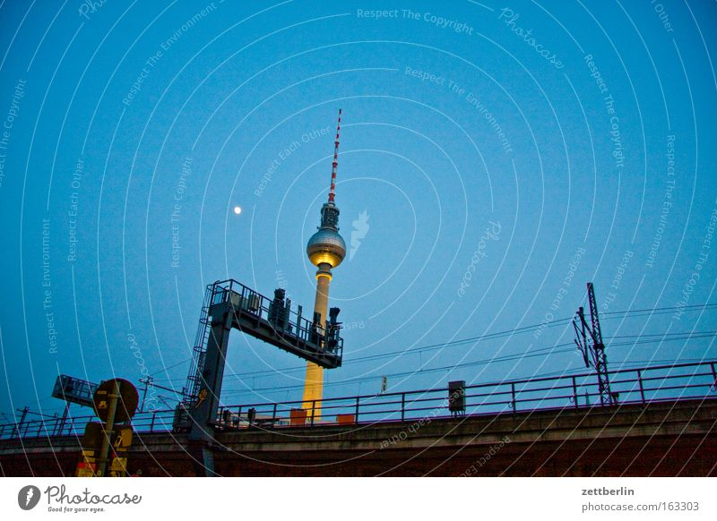 Sky City Berlin Transport Railroad Moon Night Downtown Berlin TV Tower Television tower Commuter trains Signal Public transit Railroad system