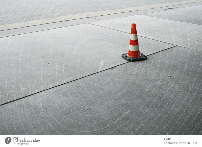 White Red Street Line Background picture Concrete Places Construction site Traffic infrastructure Warning label Individual Graphic Clue Warn Road sign Traffic cone