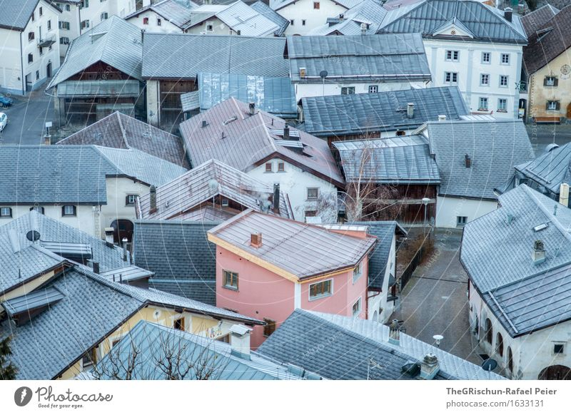 A House in the Mittelhofer-Street :-) Village Deserted House (Residential Structure) Blue Brown Gray Pink White Engadine Scuol tarasp Vacation & Travel