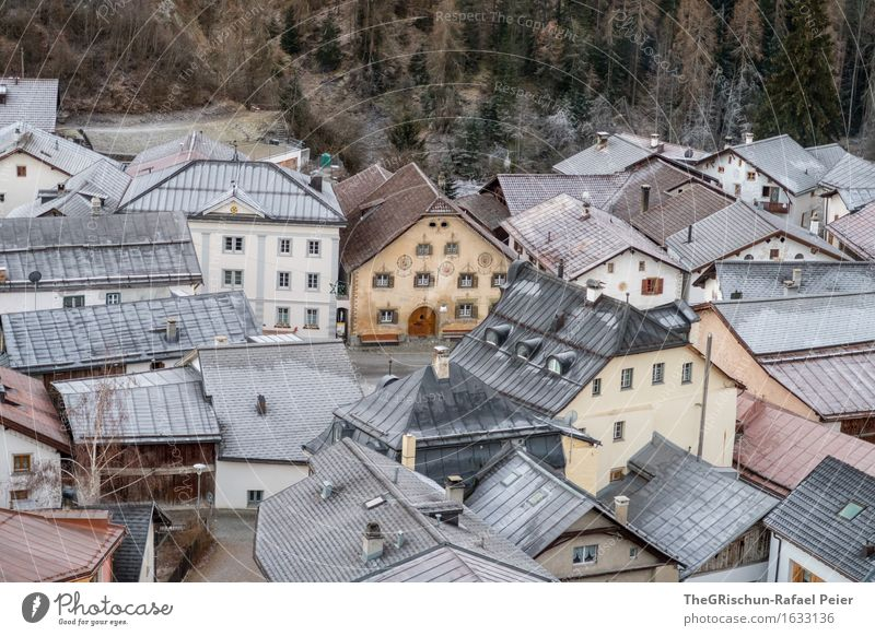 Vacation & Travel Old Blue White Forest Black Brown Orange Gold Esthetic Roof Frost Village Tradition Switzerland Still Life