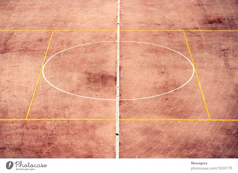 football ground in El Jadida - Morocco Sports Football pitch Places Line Yellow White street street photography Foot ball Playing field straight Orange Circle