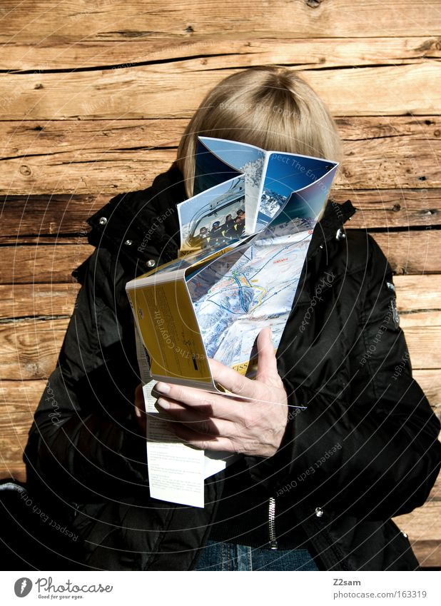Planned Mountain Wood Woman Reading Map Contrast Hand Warmth Sit Leisure and hobbies Planning Ski run Hut Old