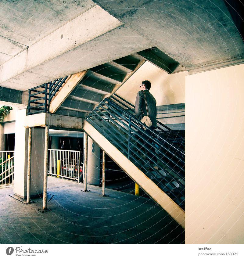 Man Success Concrete Stairs Career Go up Parking garage Resume Climber
